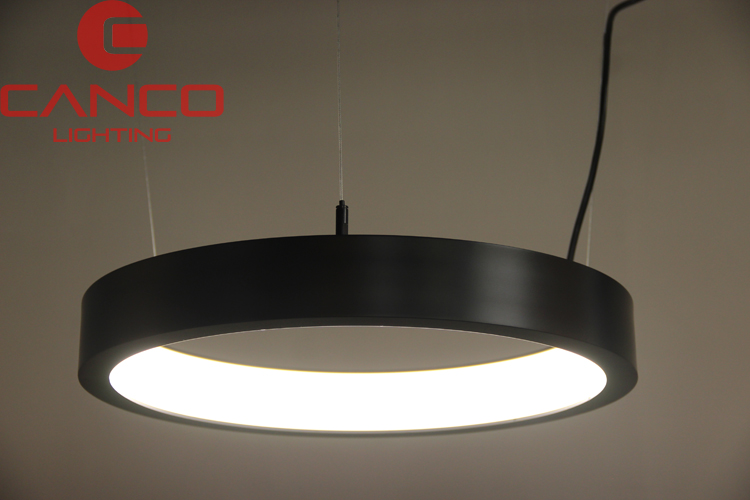 Circular Pendant Light Fixture in black finished
