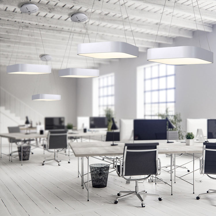Square Hanging Light Fixture in office